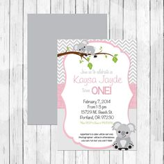 Koala First Birthday Invitation by Lemonberrymoon http://www.lemonberrymoon.com