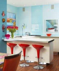 Already have aqua walls, but could my kitchen handle a splash of red? hmm...