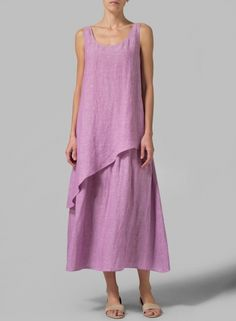 Linen Layered Long Dress Two Tone Purple Modest Outfits, Dress Outfits, Casual Outfits, Fashion Outfits, Kinds Of Clothes, Haute Couture Fashion, Lookbook, Linen Dresses, Dress Patterns