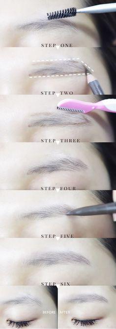 Trendy makeup tutorial korean eyebrows - T Straight Eyebrows, How To Do Eyebrows, Perfect Eyebrows, Shape Eyebrows, Korean Eyebrows Shaping, Asian Eyebrows, Eyebrow Beauty, Eyebrow Makeup, Beauty Makeup