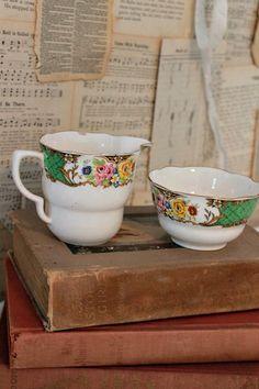 Vintage China Cream and Sugar Set.