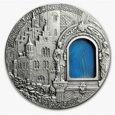 Niue Island SECRET OF LICHTENSTEIN $2 series CRYSTAL ART 2oz  Silver coin 2012