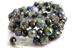 Czech Fire-Polished Glass Beads with Butterfly Memory Wire Bracelet