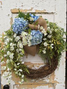 Spring Wreath for Door Easter Wreath Hydrangea by FlowerPowerOhio