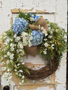 Spring Wreath for Door Easter Wreath Hydrangea by FlowerPowerOhio