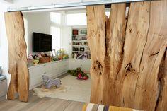 custom American elm barn doors in finished application #UrbanHardwoods #SalvagedWood #custom