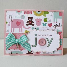 Baby GIrl Card  New baby greeting card in by JillyBearDesigns, $4.00