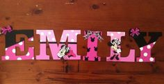 Hand painted EACH- *MINNIE MOUSE* hanging nursery letters wooden baby children's room door wall. Baby shower gift present Diy Letters, Nursery Letters, Letter A Crafts, Painted Letters, Wooden Letters, Hand Painted, Minnie Mouse Nursery, Minnie Mouse Baby Shower, Mickey Minnie Mouse