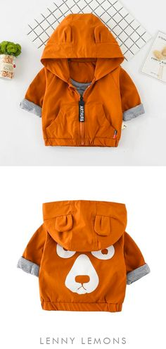 Bubble Bear Jacket | Hey there perfection! Adorable lightweight jacket Fun bear hooded top. Jersey lined, comfy and great for cool weather. Coolest gift for a baby boy or girl. Lenny Lemons, fashion for babies and toddlers #toddler #baby #bear #animals #funny #fashion #kids