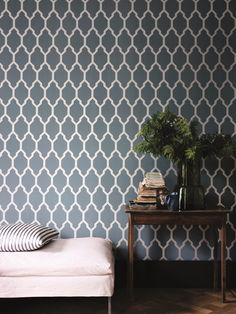 Now available in brand new metallic prints, our popular geometric wallpaper takes on even more dimension. This bold colourway… Metallic Wallpaper, Metallic Prints, Geometric Wallpaper, Wall Wallpaper, Farrow Ball, Farrow And Ball Paint, World Of Interiors, Decoration, Contemporary