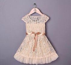 Vintage Cream Beige ace Girls Dress with door itsBellaBootique, £35.00
