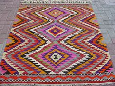 Vintage Turkish Kilim Rug Carpet by S of ART