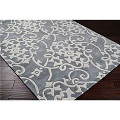 @Overstock - This hand-tufted rug features a durable and allergen-free poly-acrylic construction. Shades of white and grey highlight this rug.http://www.overstock.com/Home-Garden/Hand-tufted-Grey-Floral-Rug-5-x-8/5509808/product.html?CID=214117 $134.29