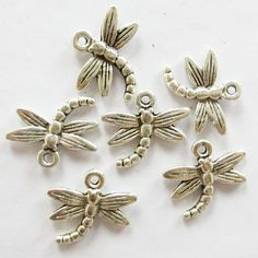 10 - 17 x 16 mm Antique Silver Dragonfly Charms  ts314