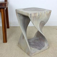 Twist Stool 10x10x16 inch H Sust Monkey Pod Wood w E Frndly Livos Agate Grey Oil