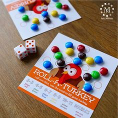 Keep kids entertained at the Thanksgiving table with this quick and easy candy game. To play, simply create a card for each player and pour a bowl of plain choc game, Thanksgiving Kids Table Game: Roll A Turkey Thanksgiving Games For Kids, Thanksgiving Parties, Thanksgiving Crafts, Thanksgiving Table, Thanksgiving Decorations, Christmas Games For Family, Thanksgiving Traditions, Harvest Decorations, Fall Table