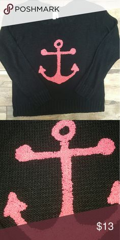 Anchor Sweater New Cozy black sweater with hot pink anchor. pink owl  Sweaters