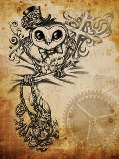 Steampunk Owl by on deviantART. The owl is super cute. Not sure about the rest though Bild Tattoos, Love Tattoos, Beautiful Tattoos, Body Art Tattoos, 1 Tattoo, Tatoo Art, Tattoo Drawings, Key Drawings, Tatoo Steampunk