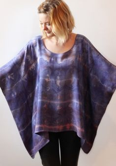 diy Fall Weather Hand Dyed Tunic-she dyed this with Procion dye and I love the effect and color! Perhaps a little different fit and add a belt to create waist definition