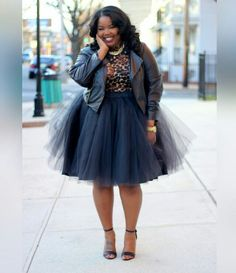 Rule Breaker! Who says you can't wear a party skirt during the day? Dress it down with a cute crop jacket or shrug & a plain t-shirt. Pair the skirt with a basic strap heel or even sneakers, like Chucks, Keds or Vans. #TheCurvyStyler #TheSLAYMagazine