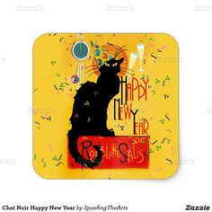 #LeChatNoir Happy New Year Square Stickers by #SpoofingTheArts #Zazzle #Gravityx9 -