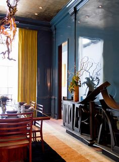 Wall color: A Shining Example for Walls: Luxe Lacquer & Polished Plaster Dark Blue Rooms, Dark Blue Walls, Teal Walls, Dining Room Blue, Dining Room Design, Apartment Therapy, Polished Plaster, Yellow Curtains, My Living Room