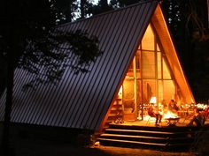 I love A-frame cabins. One day we will build one like this.