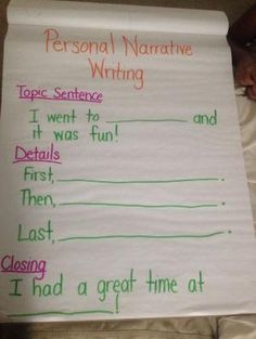 Personal Narrative Writing First Grade Writer's Workshop Anchor Chart for MiniLesson by effie