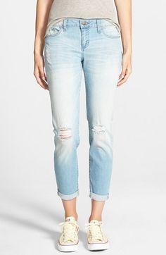 SP Black Destroyed Boyfriend Jeans (Medium Wash) available at #Nordstrom