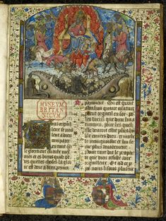 Miniature of the Fall of Lucifer and the rebel angels, decorated initial 'T'(ous), and full foliate borders including two angels supporting heraldic arms in the lower margin, at the beginning of Jacques Legrand's Livre des bonnes moeurs.