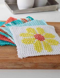 Tunisian Crochet Flower Dishcloth | AllFreeCrochet.com
