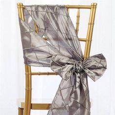 Efavormart x Silver Pintuck Chair Sash Wedding Chair Sashes, Bow Tie Wedding, Wedding Chairs, Wedding Burlap, Silver Wedding Decorations, Table Decorations, Centerpieces, Chair Bows, Winter Wonderland Wedding