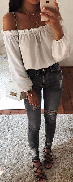 1f71a4814cd #summer #outfits white off-shoulder long-sleeved shirt. Off Shoulder Outfits