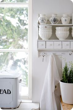 a designer obsessed with pretty things, beautiful spaces, interesting places and. Shabby Chic Cottage, Cottage Style, White Cottage, Cozy Cottage, Cottage Kitchens, Country Kitchens, Farmhouse Kitchens, Cupboard Shelves, White Shelves
