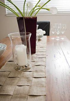 DIY Tutorial: DIY Burlap Crafts / DIY A Beautifully Woven Burlap Table Runner - Bead