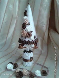 Поделка изделие Новый год Моделирование конструирование Кофе с молоком Елка Кофе Пряжа фото 1