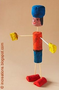 A great craft idea for the kids- create your own doll out of five corks, toothpicks and paint! So doing this with my grandson. Preschool Art, Craft Activities For Kids, Diy Crafts For Kids, Arts And Crafts, Craft Ideas, Wine Cork Art, Wine Cork Crafts, Wine Bottle Corks, Recycled Glass Bottles