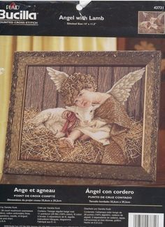 Hobby lavori femminili: Schema punto croce -  Angelo con l'Agnello