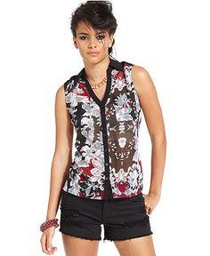 Bar III Top, Sleeveless Split-Neck Floral-Print Tank - Tops - Women - Macy's