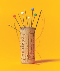 Keep your needles and pins handy with a recycled cork via Real Simple