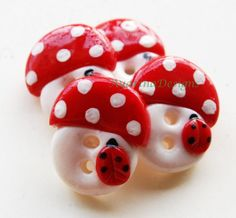 buttons, images | Mushrooms - set of 4 polymer clay handmade buttons