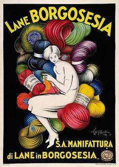 Advertising posters  - Titolo: LANE BORGOSESIA - Autore: LEONETTO CAPPIELLO - Tipo Stampa: Offset - Anno Stampa: 1927 - Dimensioni: 139x99 - Qualità: B+ - Descrizione Qualità: Telato.