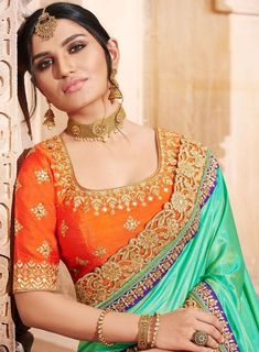 Cut Sleeves Blouse Designs For Contrast Silk Sarees Indian Saree With Contrast Blouse Designs #saree #blousedesign #blouse #latestsaree #contrastcolour #colourcombination #colourideas #blousedesigns #combination #blouses Contrast colour combination for saree and blouse,Saree and blouse colour combination,contrast colour ideas for saree and blouse,saree and blouse colour combination idea,contrast combination blouse and saree,contrast blouse for saree,contrast blouse designs,contrast blouse Saree Color Combinations, Velvet Saree, Rajputi Dress, Indian Sarees, Indian Blouse, Indian Wear, Orange Saree, Simple Sarees, Punjabi Dress