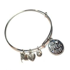 Bangle bracelet my love is alive three more charms Bangle bracelet my love is alive recycling made in USA and United States flag charms Jewelry Bracelets