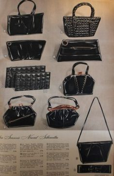 1940s purses. 1947 black leather bags in modern styles