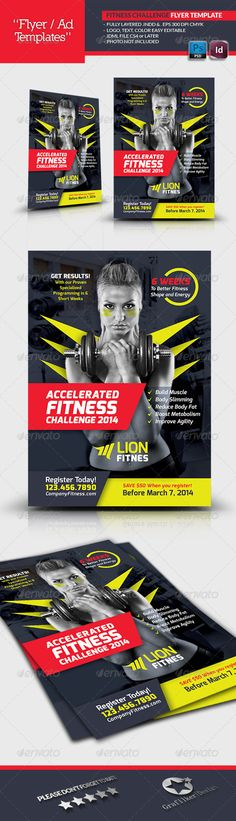 Fitness Challenge Flyer Template — Photoshop PSD #soundness #regimen • Available here → https://graphicriver.net/item/fitness-challenge-flyer-template/6708833?ref=pxcr