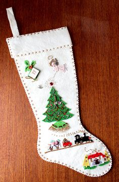 vintage felt christmas stocking with appliques and sequins - Homemade Christmas Stockings