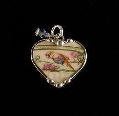 broken china jewelry parrot heart