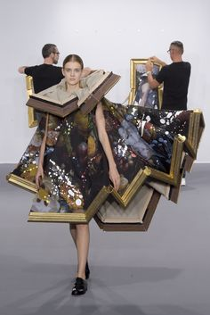 This piece, from Viktor and Rolf's Haute Couture Fall 2015 show is one which I find particularly fascinating. The show consisted of dresses which appear as though they are framed pieces of fine art - folded and crumpled to fit as a dress. These pieces, fascinatingly, can also be unfolded and hung as pieces themselves. I found this dress so interesting because it shows a clear, strong relationship between fine art and fashion.