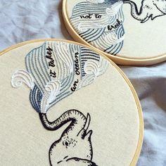 """It takes an ocean not to break"" #clubedobordado #embroidery #bordado #broderie"